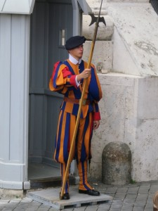 Swiss Guard outside Scavi Tour entrance