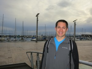 Justin by the piers at Lake Geneva
