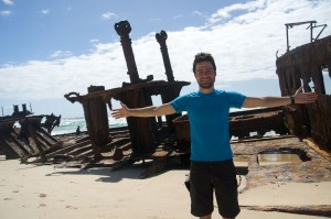 Lyle admiring the wreckage of the S.S. Maheno