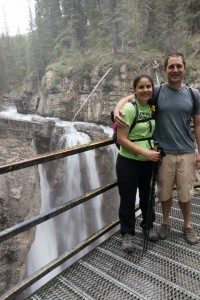 Katie and Justin overlooking a waterfall on our first hike