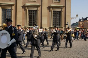 Marching band outside the Swedish Royal Palace