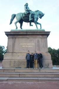 Lyle, Katie, Matt, and Chris outside the Norwegian Royal Palace