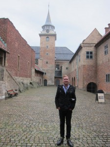 Chris in a courtyard of Akershus Fortress