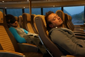 Lyle and Matt sleeping on the ferry to Bergen