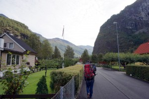 Katie walking through Flam to our rental house