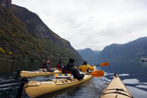 Everyone on a kayak in Sognefjord