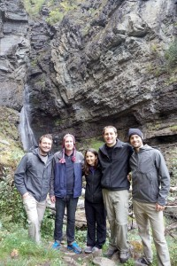 Matt, Chris, Katie, Justin, and Lyle on hike to waterfall