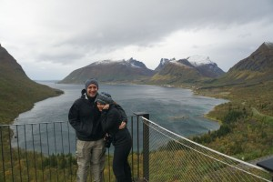 Justin and Katie overlooking a fjord, as you can tell it was very windy
