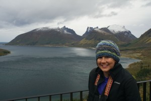 Katie overlooking a fjord at Senja