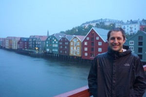 Justin over the Nidelva River in Trondheim