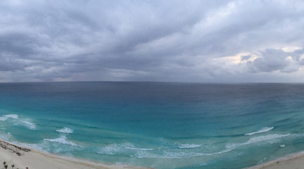 View from hotel in Cancun before the storm rolled in