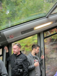 Chris and Lyle taking the tram up to the mountain view point
