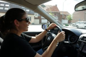 Katie learning how to drive a manual in rural Belgium