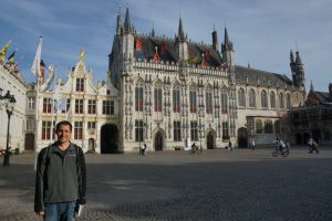 Justin next to City Hall in Burg Square