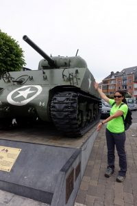 Katie and an Allied tank in central Bastogne